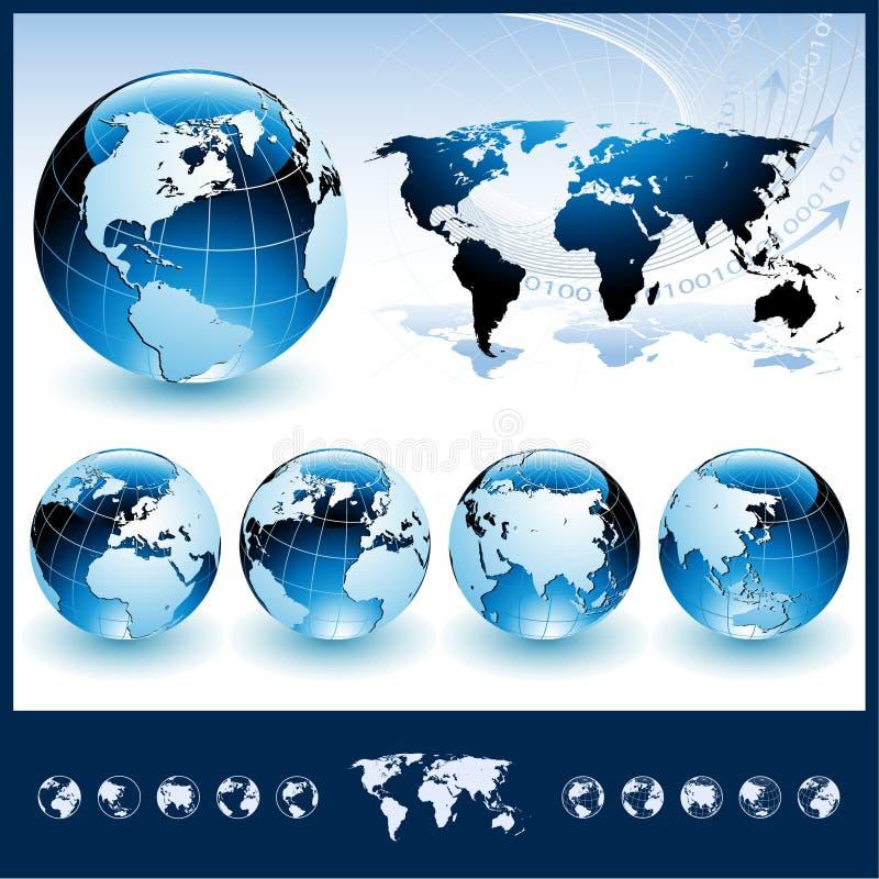 Bollen met de Kaart van de Wereld royalty-vrije illustratie