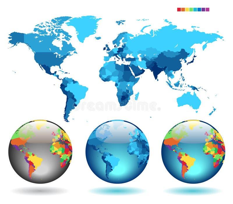 Bollen op blauwe gedetailleerde kaart royalty-vrije illustratie