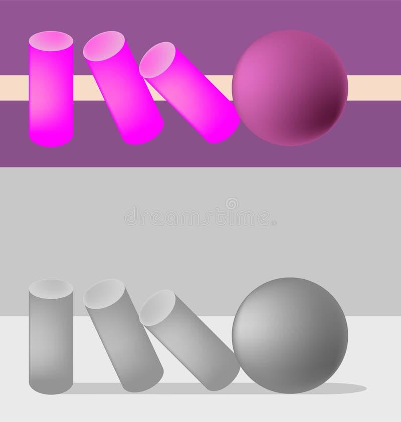 Bollen tappar cylindrarna på grå färger och en purpurfärgad bakgrund stock illustrationer