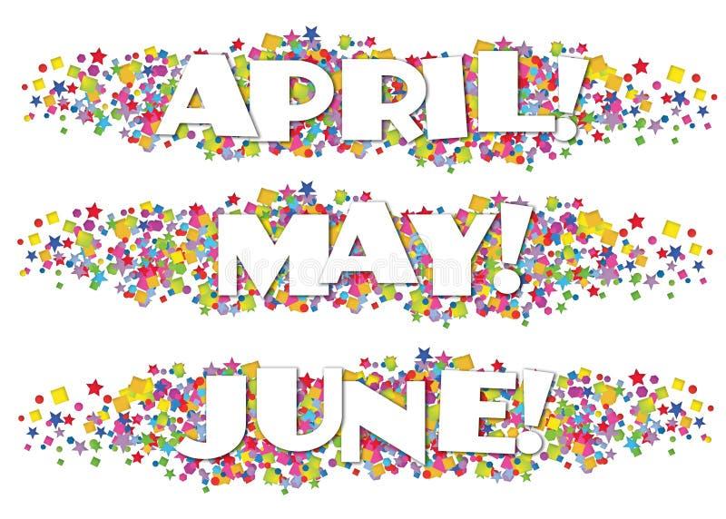 Bollettino April May June decorativa di mesi civili illustrazione di stock
