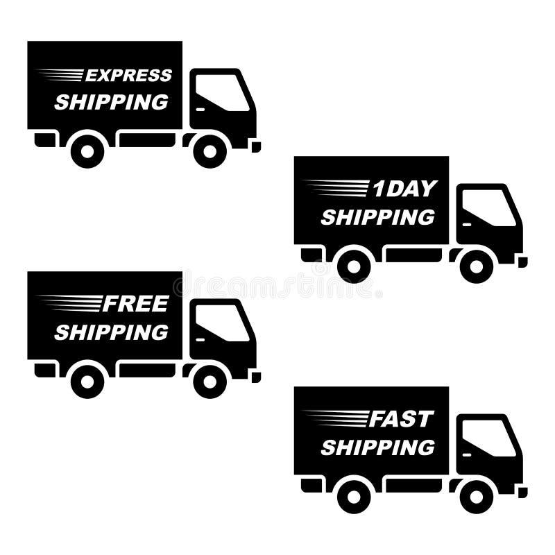 Bollettino di consegna/vettore di spedizione della siluetta del camion, isolato su fondo bianco royalty illustrazione gratis