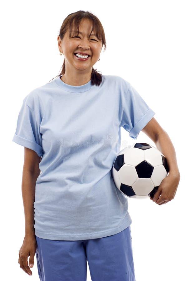 bollfotbollkvinna arkivbilder
