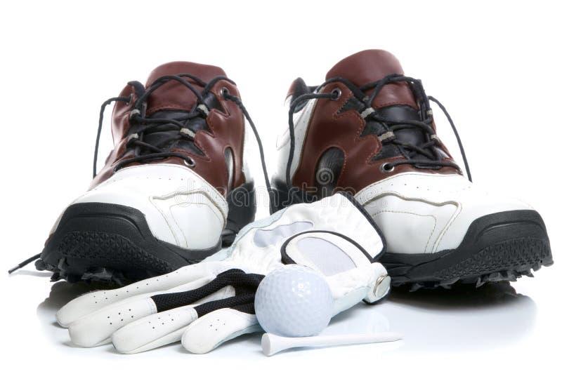 bollhandskegolf shoes utslagsplatsen royaltyfria bilder