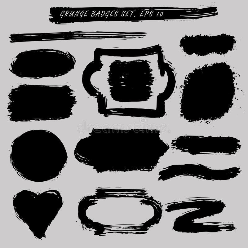 Bolli afflitti messi Distintivi di lerciume, etichetta, insegne illustrazione di stock