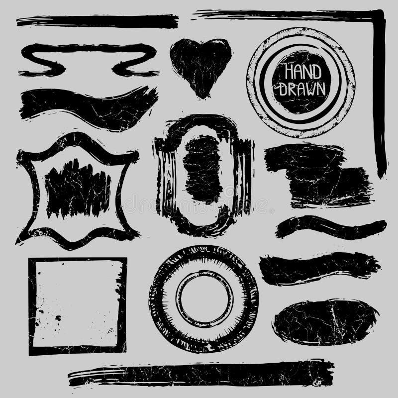 Bolli afflitti messi Distintivi di lerciume, etichette, struttura royalty illustrazione gratis