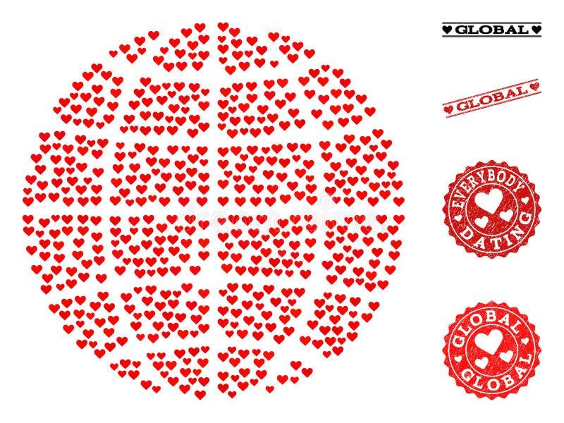 Bolli del globo e di lerciume del mosaico di amore per i biglietti di S. Valentino illustrazione di stock
