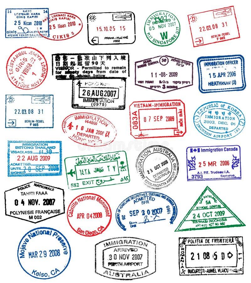 Bolli del passaporto royalty illustrazione gratis