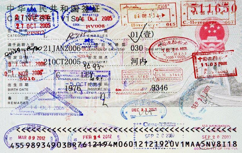 Bolli del passaporto immagini stock libere da diritti