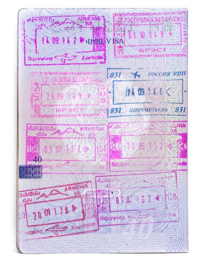 Bolli del passaporto dell'Armenia Il primo piano armeno del documento di viaggio, ha isolato immagine stock libera da diritti