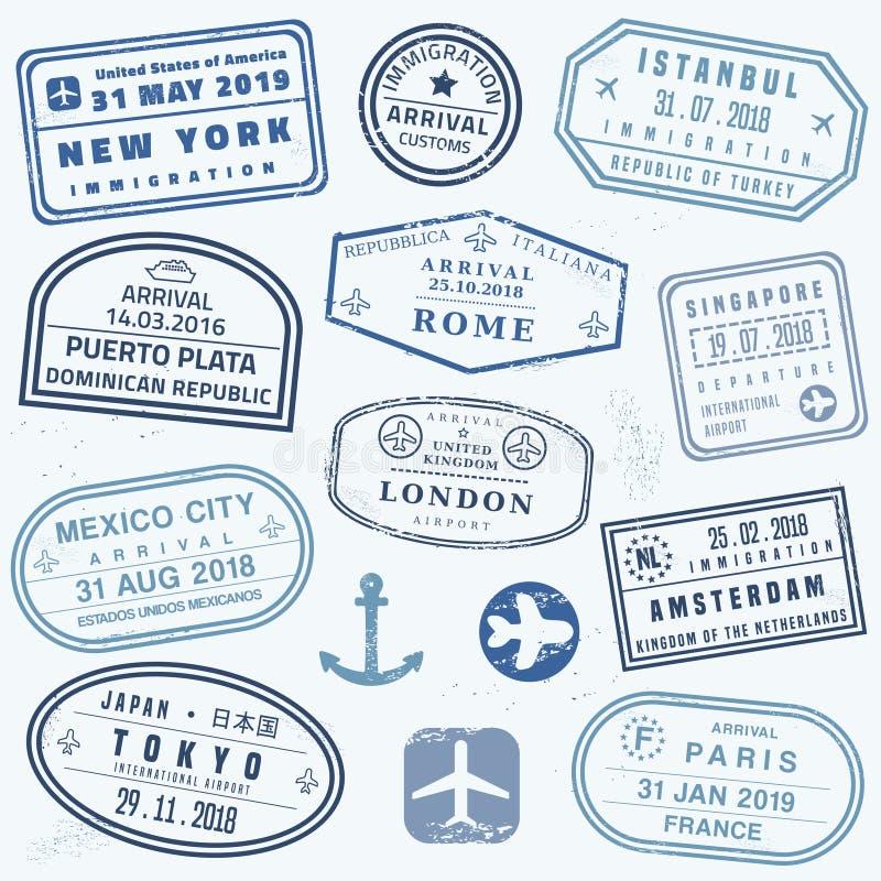 Bolli del passaporto della novit? royalty illustrazione gratis