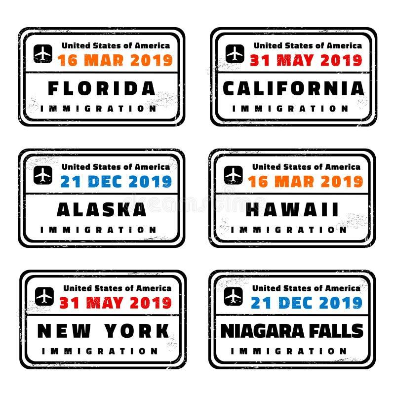 Bolli del passaporto di vettore di U.S.A. royalty illustrazione gratis