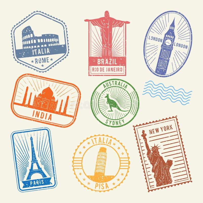 Bolli postali con i simboli famosi di architettura del mondo Immagini di viaggio di vettore royalty illustrazione gratis
