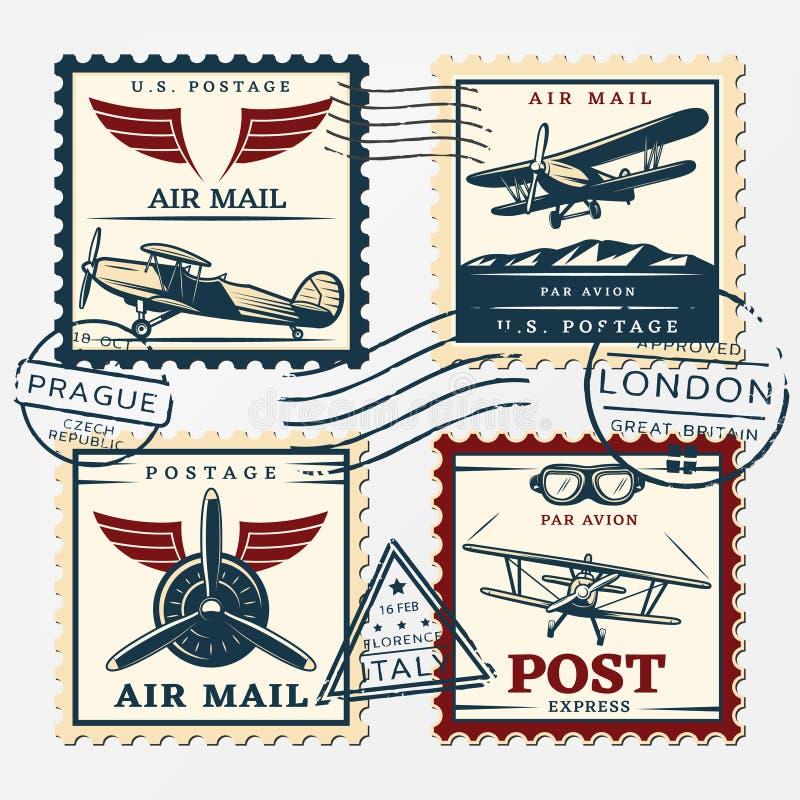 Bolli variopinti del quadrato dell'affrancatura degli aerei messi royalty illustrazione gratis