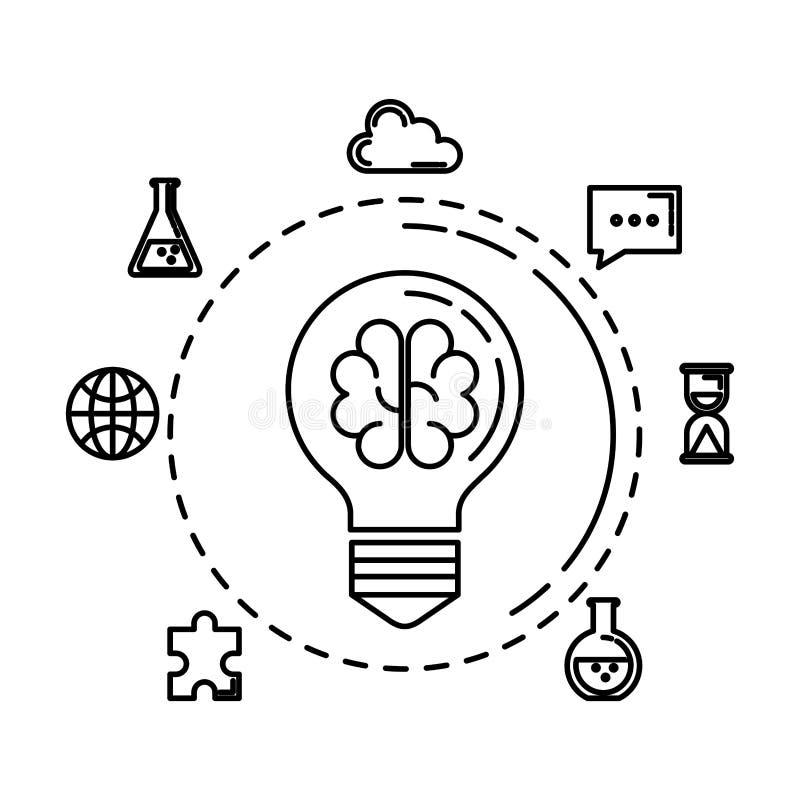 Bollicht met hersenen het stormen en bedrijfspictogrammen vector illustratie