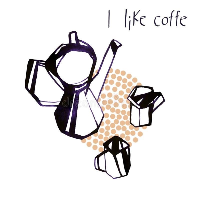 Bollitore dell'acquerello ed illustrazione delle tazze di caffè su fondo bianco royalty illustrazione gratis