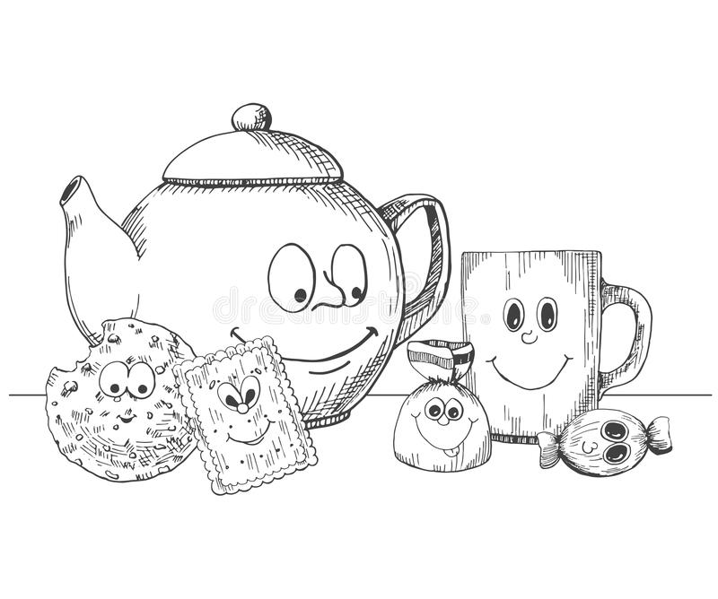 Bollitore, tazza, biscotti e caramelle disegnati a mano in uno stile del fumetto Illustrazione di vettore nello stile di schizzo illustrazione vettoriale