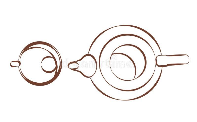 Bollitore, vista superiore della tazza Articoli per la tavola per t? Illustrazioni per fare bevanda condita icona lineare isolata illustrazione di stock