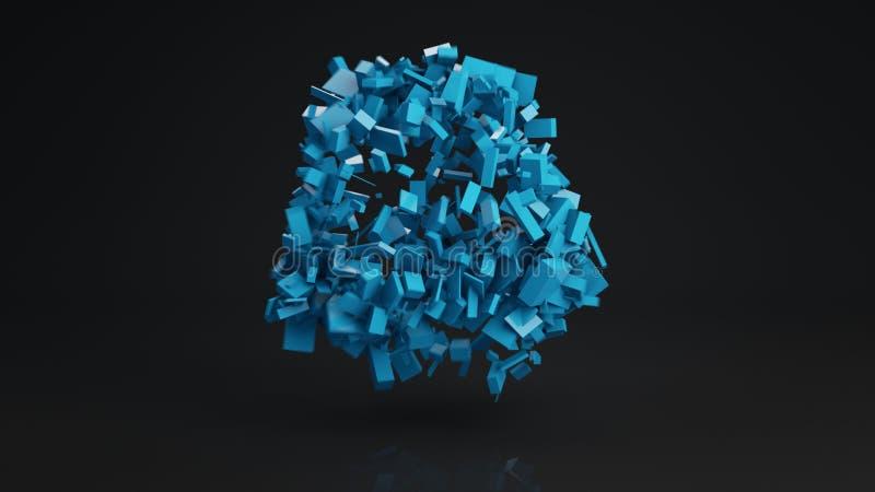 Bollklungan av tegelstenabstrakt begreppform 3D framför stock illustrationer