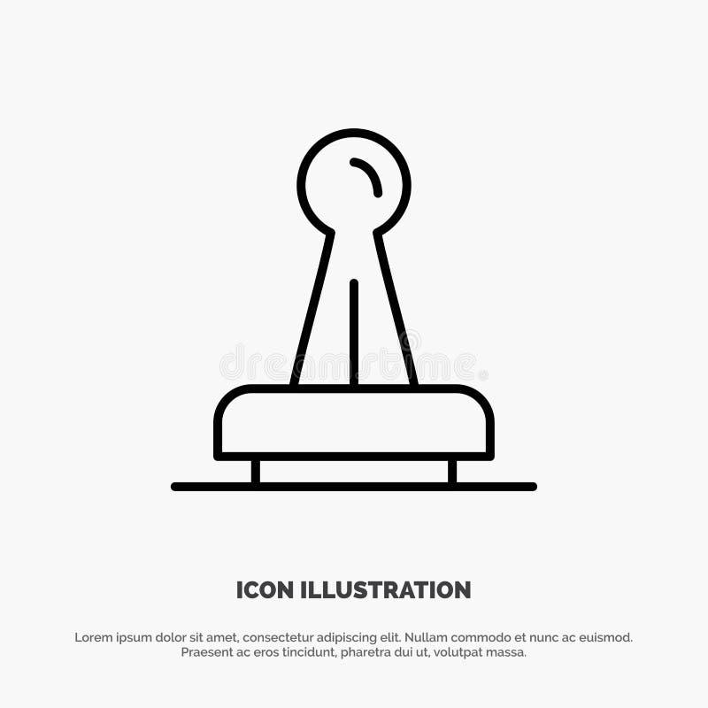 Bollo, approvazione, autorità, legale, segno, gomma, linea vettore della guarnizione dell'icona illustrazione di stock
