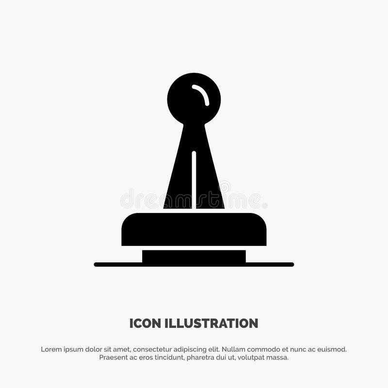 Bollo, approvazione, autorità, legale, segno, gomma, vettore solido dell'icona di glifo della guarnizione illustrazione di stock