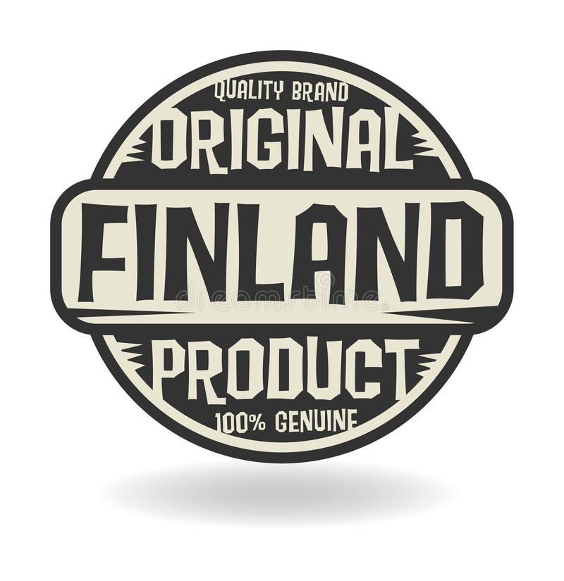 Bollo astratto con il prodotto originale del testo della Finlandia illustrazione di stock