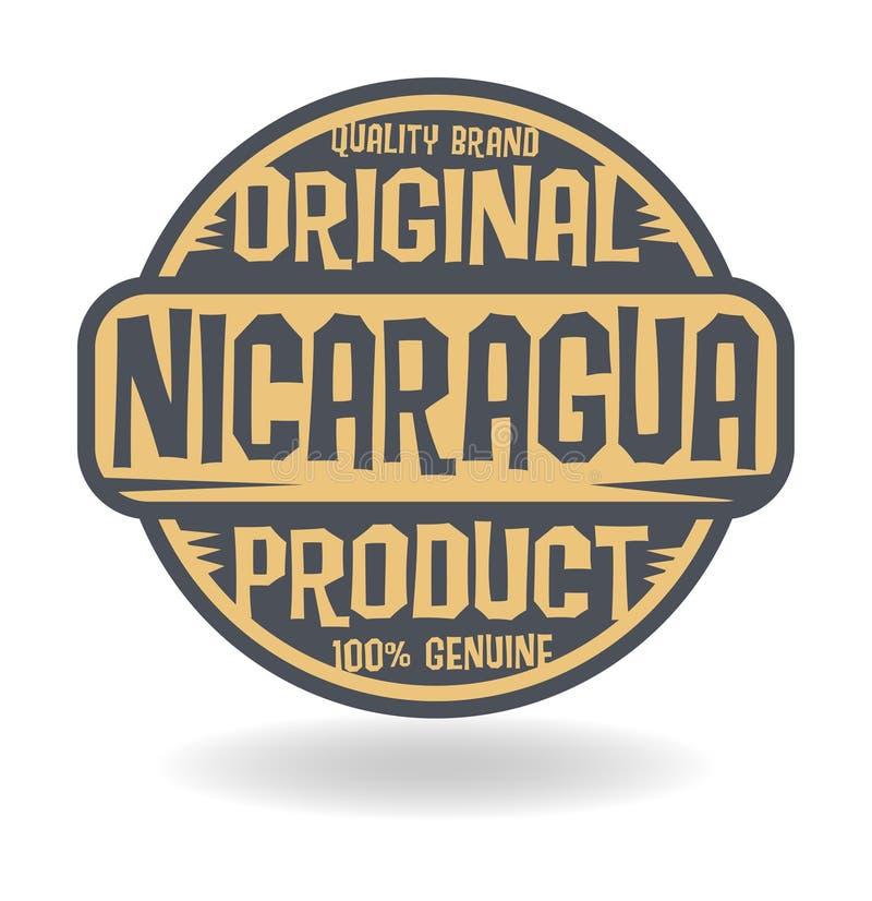 Bollo astratto con il prodotto originale del testo del Nicaragua illustrazione vettoriale