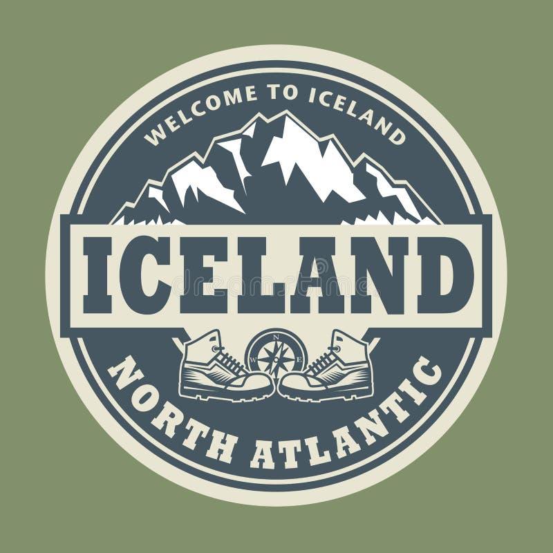 Bollo astratto con il testo Islanda, Atlantico Settentrionale royalty illustrazione gratis