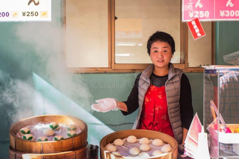 Bollo cocido al vapor chino en Nagasaki Chinatown imagen de archivo