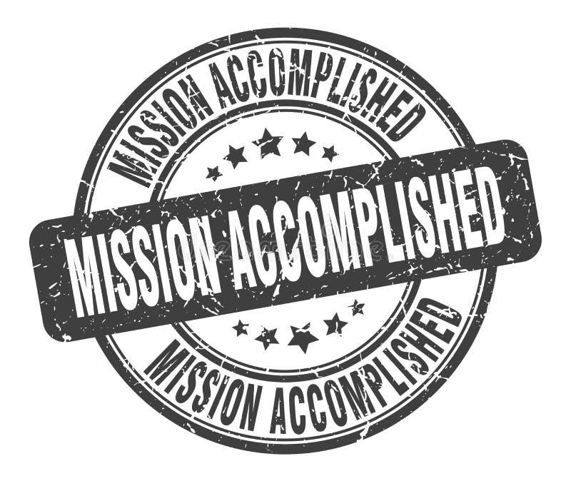 Bollo compiuto missione illustrazione vettoriale