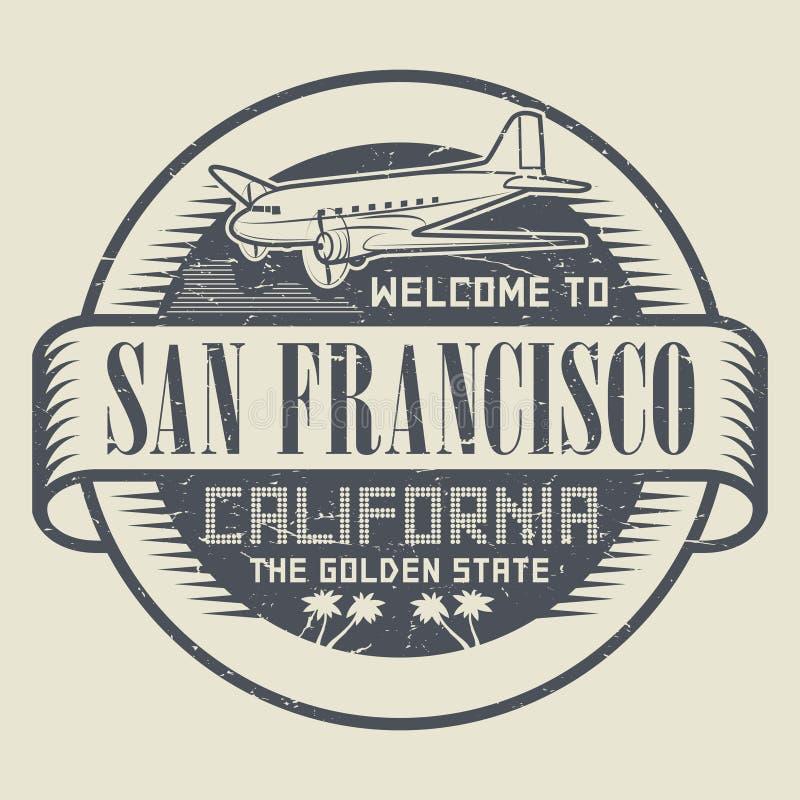 Bollo con il benvenuto del testo e dell'aeroplano a California, San Francisc royalty illustrazione gratis