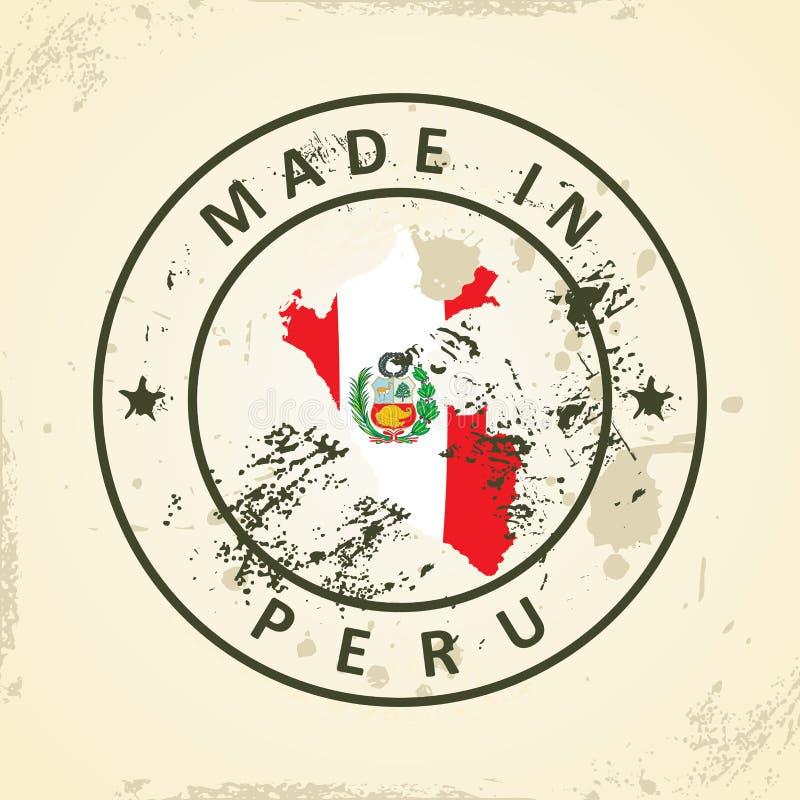 Bollo con la bandiera della mappa del Perù illustrazione vettoriale
