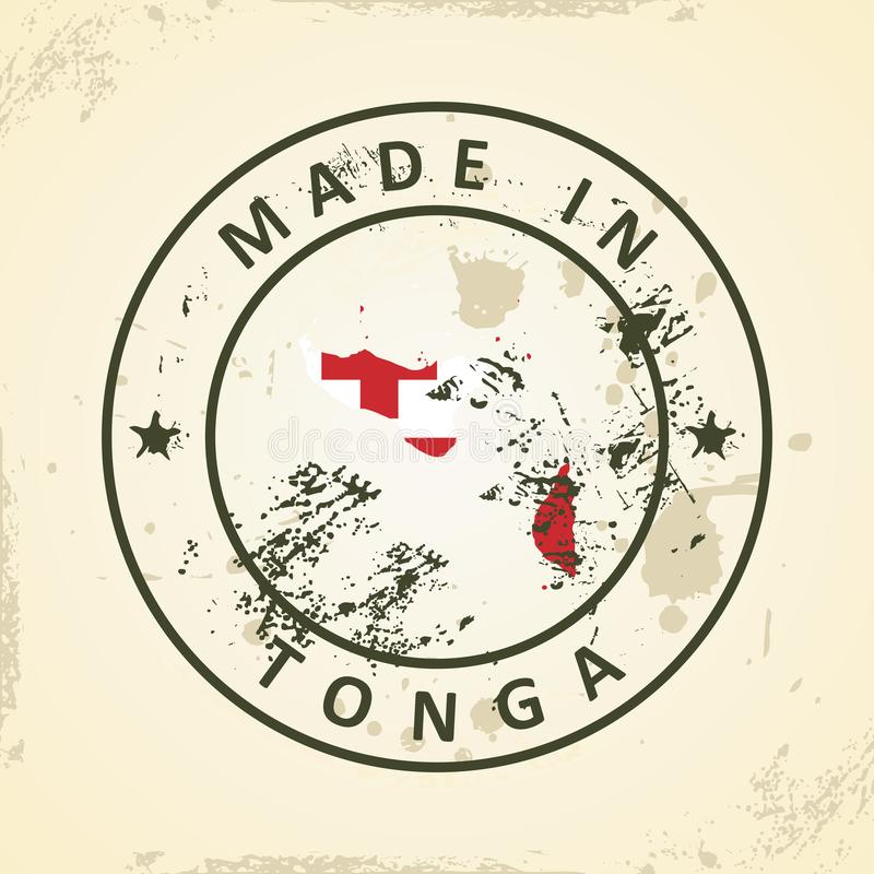 Bollo con la bandiera della mappa del Tonga illustrazione di stock