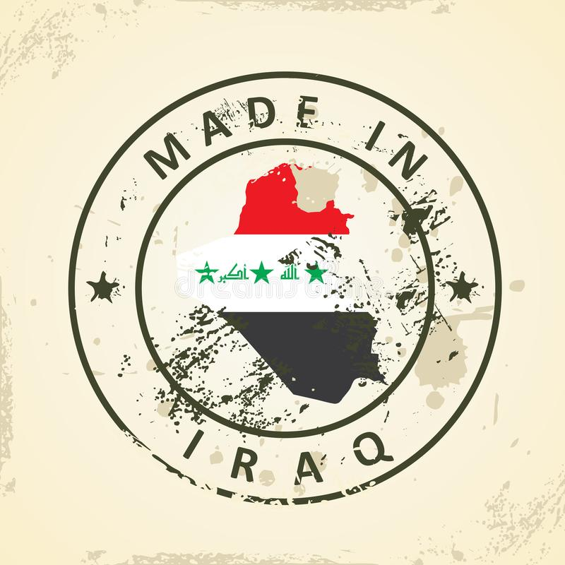 Bollo con la bandiera della mappa dell'Irak illustrazione di stock