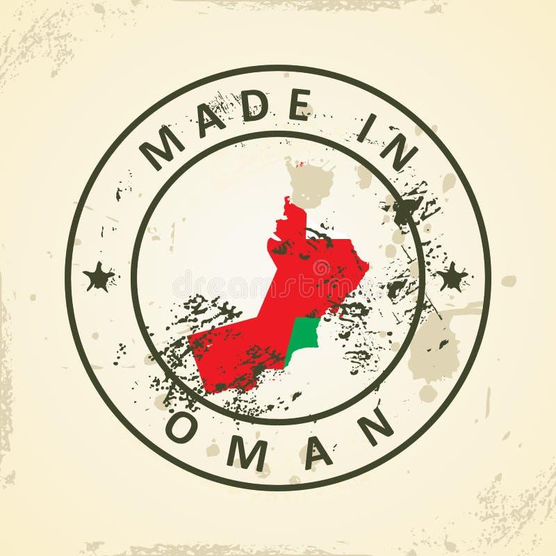 Bollo con la bandiera della mappa dell'Oman illustrazione vettoriale