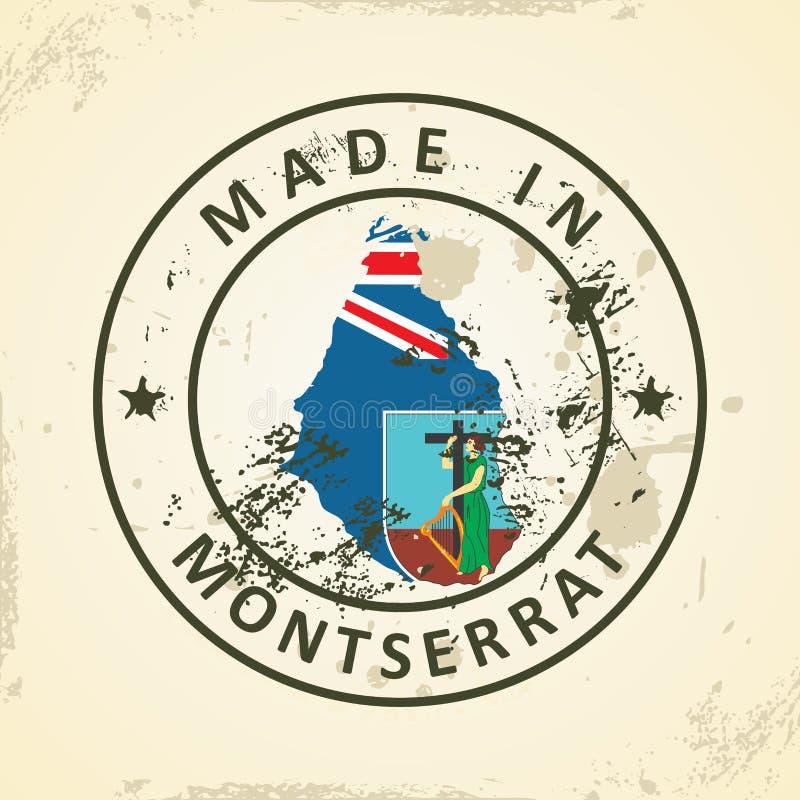 Bollo con la bandiera della mappa di Montserrat illustrazione di stock