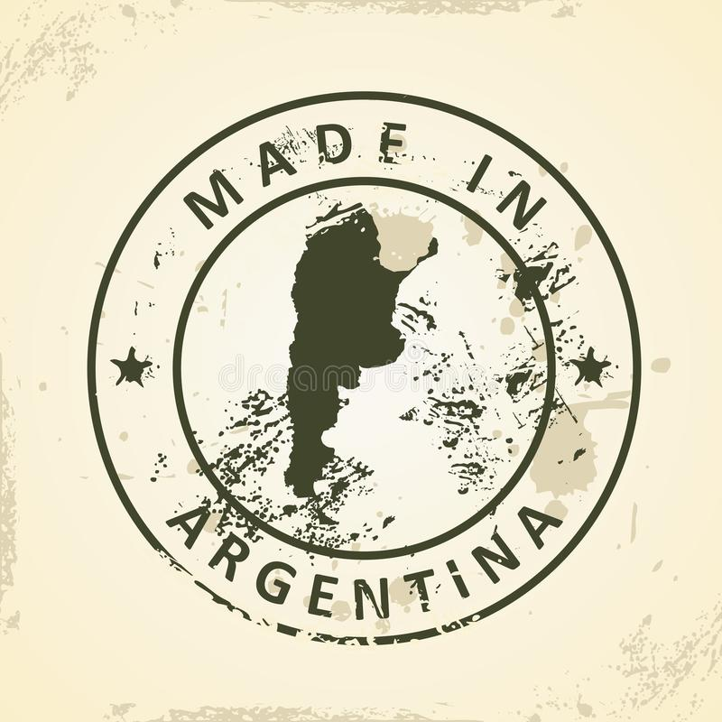 Bollo con la mappa dell'Argentina illustrazione di stock
