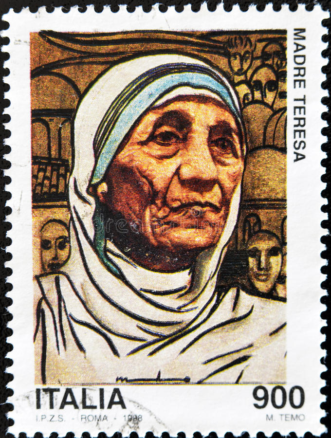 Bollo con Mother Teresa immagine stock