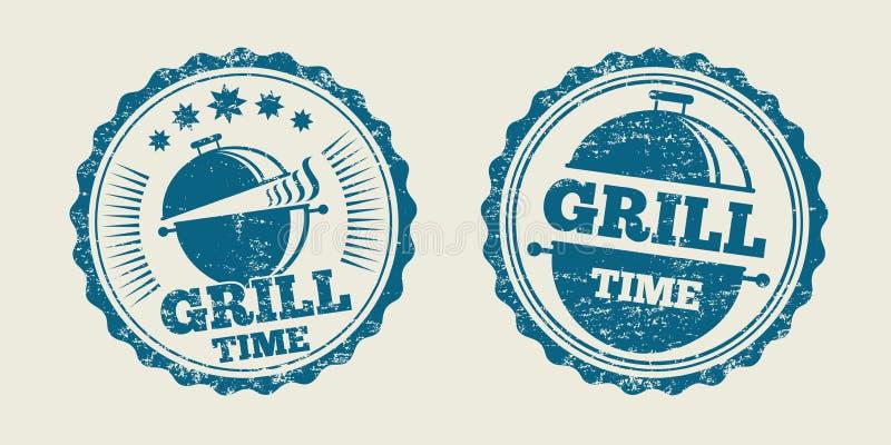 Bollo d'annata della guarnizione del menu della bistecca del barbecue della griglia del BBQ Illustrazione di vettore illustrazione vettoriale