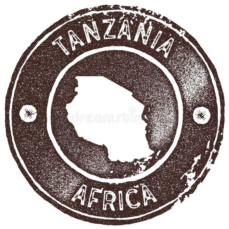 Bollo d'annata della mappa della Tanzania illustrazione di stock