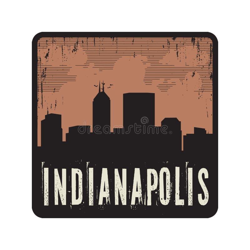 Bollo d'annata di lerciume con testo Indianapolis illustrazione di stock