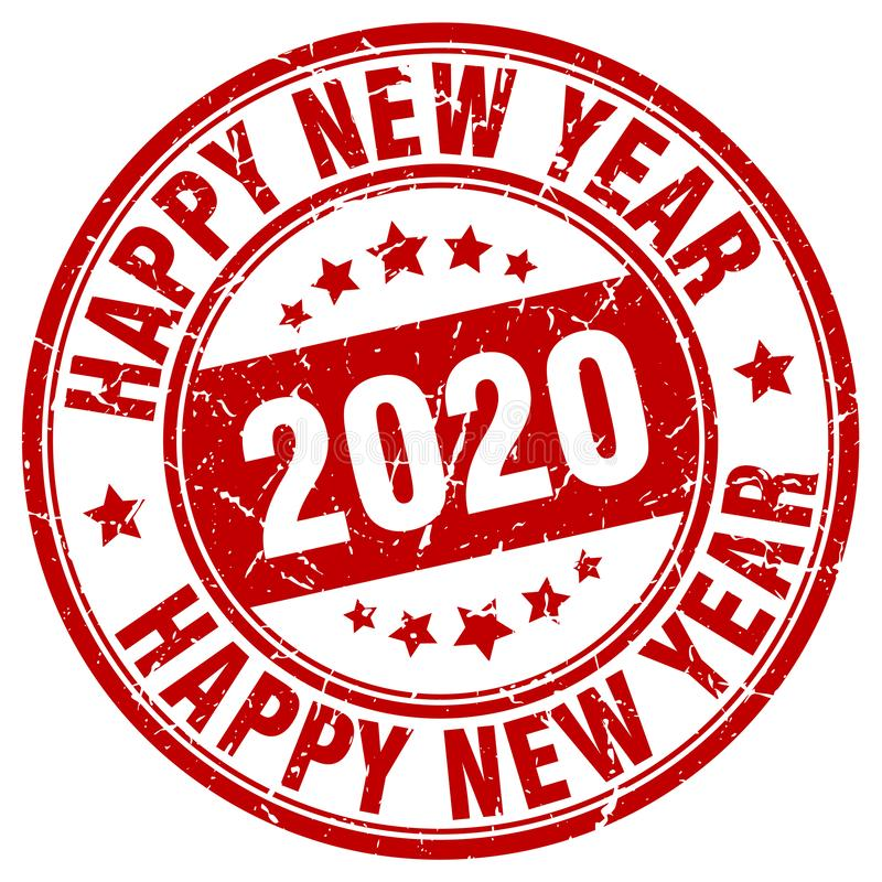 Bollo del buon anno 2020 Anno 2020 illustrazione vettoriale
