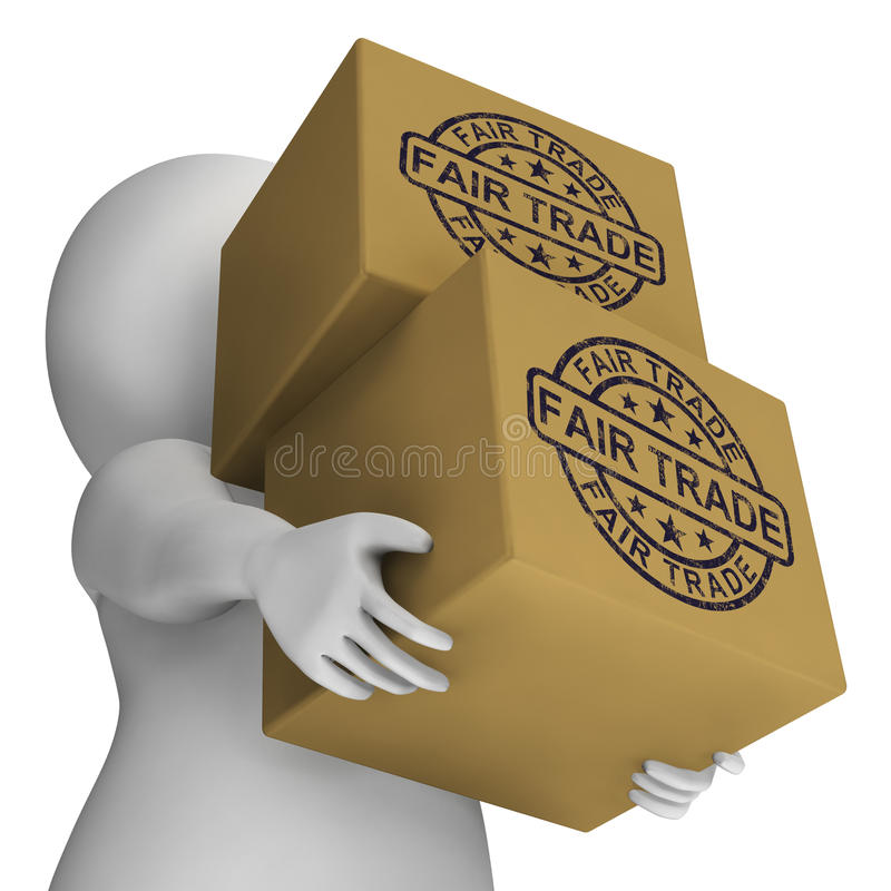 Bollo del commercio equo e solidale sulle scatole che mostrano prodotti etici illustrazione vettoriale
