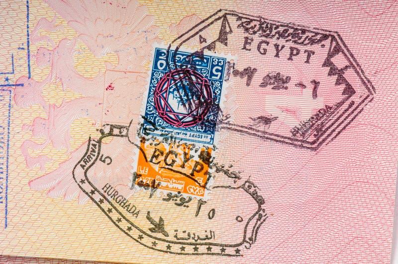 Bollo del confine di visto dell'Egitto fotografie stock libere da diritti