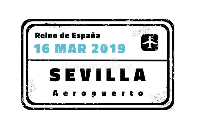 Bollo del passaporto di Sevilla illustrazione di stock