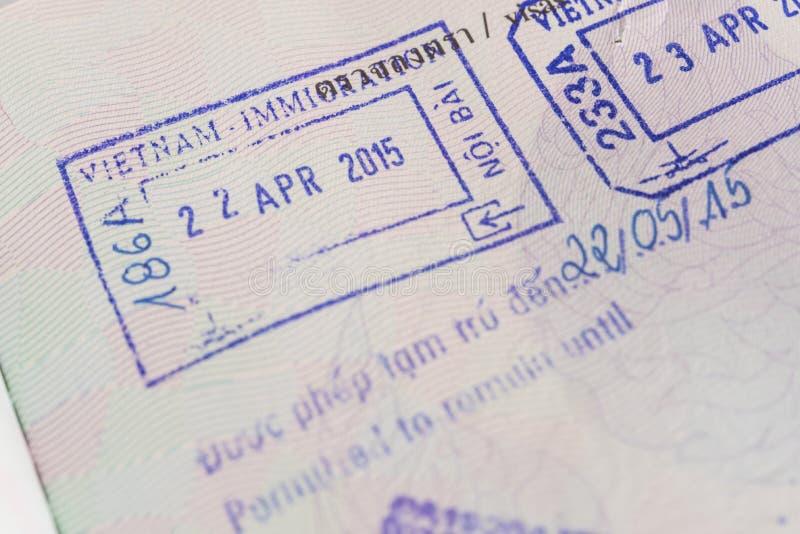 Bollo del passaporto di visto dal Vietnam fotografia stock libera da diritti
