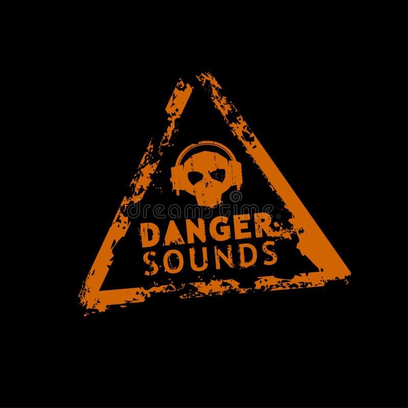 Bollo del suono del pericolo illustrazione di stock