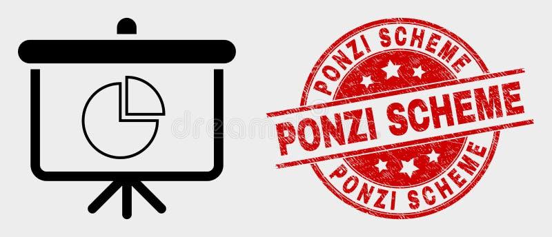 Bollo dell'icona del bordo di dimostrazione del diagramma a torta di vettore e di schema di Ponzi di lerciume royalty illustrazione gratis