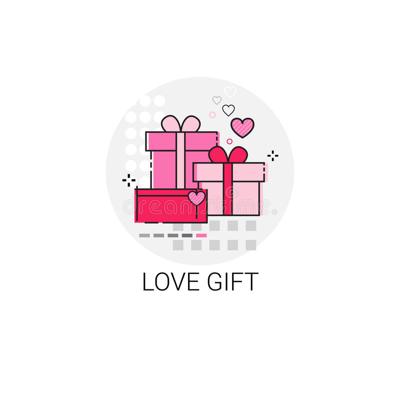 Bollo dell'icona di amore di Valentine Day Gift Card Holiday illustrazione di stock