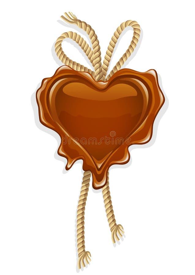 Bollo della cera nel modulo dell'elemento di disegno del cuore royalty illustrazione gratis