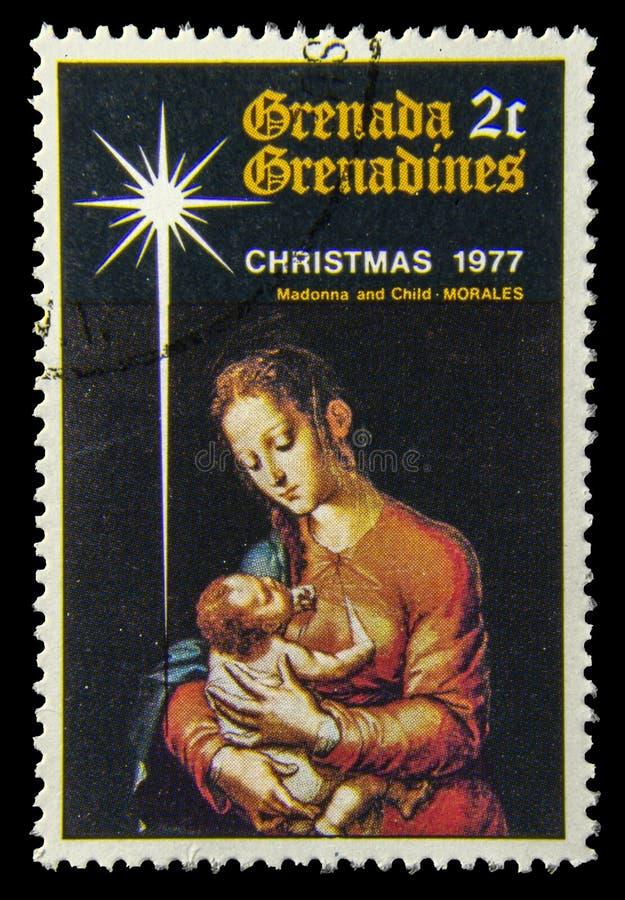 Bollo della posta con Madonna e la pittura del bambino fotografia stock libera da diritti